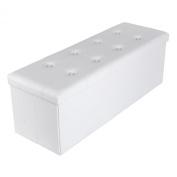 Songmics 110 x 38 x 38 cm Large Folding Storage Ottoman Max Load 300 kg White LSF702