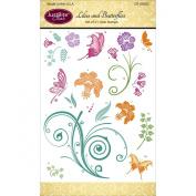 Justrite Papercraft Clear Stamps 10cm x 15cm -Lillies & Butterflies