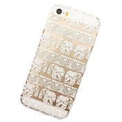 Meily Henna Lotus Floral Elephant Hindu Ganesh Case Cover for iPhone 5/5S