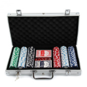 MultiWare Casino Game Set Poker Chips 300 Pcs In Aluminium Case With 2 Sets of Playing Cards