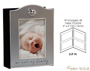 """Bambino Baby Christening Gifts. Silverplated Rocking Horse Icon Photo Album """"Me & My Family"""""""