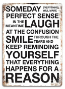 """Slogan """"Someday"""" Quote White Metal Wall Sign Plaque Wall Art Inspirational"""