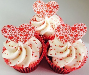 24 pre-cut red love heart shaped edible cup cake toppers ideal for Valentines or just a romantic gesture by Topped Off