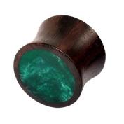 Organic Plug Sono Wood and turquoise resin (OG9). Ear Plug Stretcher. 10mm gauge. (1 only).