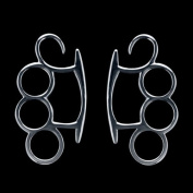 """FreshTrends 12G - Stainless Steel Tapered Plug """"Brass Knuckle"""" Hangers - Pair"""