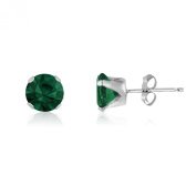 7MM Classic Brilliant Round Cut CZ Sterling Silver Stud Earrings - Choose From 13 Colours