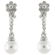 Clip On Earrings Store Silver and Clear Crystal and Pearl Flower Drop Clip On Earrings