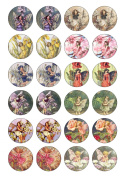 24 Precut Round Vintage Flower Fairy Edible Wafer Paper Cake Toppers