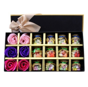 BININBOX Perfect Valentine's day gift -12 bottles candy and 6 Pcs Soap Rose Petal in Gift Box