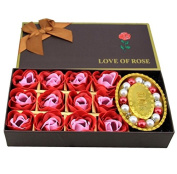 BININBOX 12Pcs/Box Romantic Rose Soap Flower With Bracelet Great gift for Valentine's Day/Birthday