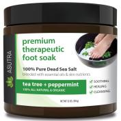 "Premium Therapeutic Foot Soak - ""TEA TREE + PEPPERMINT"" + Free Pedicure Pumice Stone - 100% Pure Dead Sea Salt With Skin Healing Nutrients & Organic Essential Oils - Large 470ml"