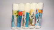 Tropical Apeel Assorted Organic Lip Balm 5 PACK with All Natural Beeswax, Mango and Cocoa Butters from Florida's Growers to sooth and protect lips