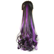 Abwin Bundled Fluffy Mixed Colour Wavy Ponytail / Black and Violet