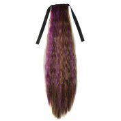 Abwin Mixed Colour Bundled Corn Hot Roll Ponytail / Light Brown and Violet