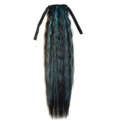 Abwin Mixed Colour Bundled Corn Hot Roll Ponytail / Black and Sky Blue