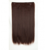 """Fashion Hairpiece Long Straight Medium Brown 23""""(58cm) 3/4 Full Head One Piece 5clips Clip in Hair Extensions Long Poplar Style for Xmas Gifts"""