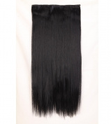 """Fashion Hairpiece Long Straight Dark Black 23""""(58cm) 3/4 Full Head One Piece 5clips Clip in Hair Extensions Long Poplar Style for Xmas Gifts"""