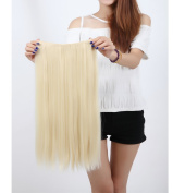"""Fashion Hairpiece Long Straight Bleach Blonde 23""""(58cm) 3/4 Full Head One Piece 5clips Clip in Hair Extensions Long Poplar Style for Xmas Gifts"""