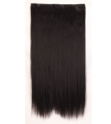 """Fashion Hairpiece Long Straight Natural Black 23""""(58cm) 3/4 Full Head One Piece 5clips Clip in Hair Extensions Long Poplar Style for Xmas Gifts"""