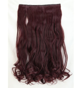 """Fashion Hairpiece Curly Wine Red 17""""(43cm) 3/4 Full Head One Piece 5clips Clip in Hair Extensions Long Poplar Style for Xmas Gifts"""