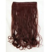 """Fashion Hairpiece Curly Dark Auburn 17""""(43cm) 3/4 Full Head One Piece 5clips Clip in Hair Extensions Long Poplar Style for Xmas Gifts"""