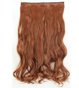 """Fashion Hairpiece Curly Light Auburn 17""""(43cm) 3/4 Full Head One Piece 5clips Clip in Hair Extensions Long Poplar Style for Xmas Gifts"""