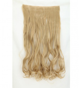"""Fashion Hairpiece Curly Ash Blonde 17""""(43cm) 3/4 Full Head One Piece 5clips Clip in Hair Extensions Long Poplar Style for Xmas Gifts"""