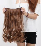 """Fashion Hairpiece Curly Light Brown 17""""(43cm) 3/4 Full Head One Piece 5clips Clip in Hair Extensions Long Poplar Style for Xmas Gifts"""