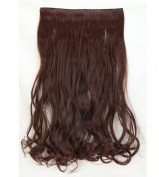 """Fashion Hairpiece Curly Medium Brown 17""""(43cm) 3/4 Full Head One Piece 5clips Clip in Hair Extensions Long Poplar Style for Xmas Gifts"""