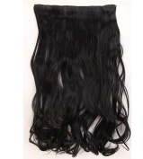 """Fashion Hairpiece Curly Dark Black 17""""(43cm) 3/4 Full Head One Piece 5clips Clip in Hair Extensions Long Poplar Style for Xmas Gifts"""