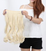 """Fashion Hairpiece Curly Bleach Blonde 17""""(43cm) 3/4 Full Head One Piece 5clips Clip in Hair Extensions Long Poplar Style for Xmas Gifts"""