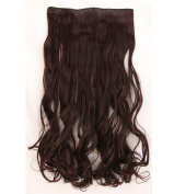 """Fashion Hairpiece Curly Dark Brown 17""""(43cm) 3/4 Full Head One Piece 5clips Clip in Hair Extensions Long Poplar Style for Xmas Gifts"""