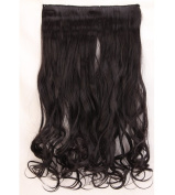 """Fashion Hairpiece Curly Natural Black 17""""(43cm) 3/4 Full Head One Piece 5clips Clip in Hair Extensions Long Poplar Style for Xmas Gifts"""
