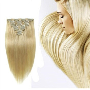 Futuretrend@38cm -60cm 7pcs Straight Remy Clip in Real Human Hair Extensions #613 Bleach Blonde Personal Healthcare / Health Care