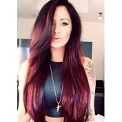 PlatinumHair long red natural straight wigs synthetic lace front straight wigs heavy density for black women 70cm