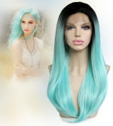 Cbwigs 2016 New Arrival Fashion Ombre Cyan Straight Synthetic Lace Front Wig Two Tone Black/cyan Heat Resistant Hair Wowen