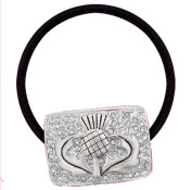 Scottish Thistle 'Bling' Hair Tie - with Clear CZ