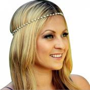 Yoyorule Women Head Jewellery Chain Hair Band Headpiece Tassels Pearl
