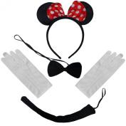 Black Red White Polkadot Minnie Mouse Ears Headband Bow Tie Tail + Gloves Set