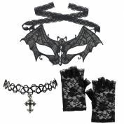 Venetian Lace Vampire Bat Tie Mask Cross Choker + Floral Fingerless Gloves Set
