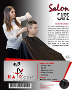 HairDay Professional Salon Cape * Water Resistant * 50x60 * Sewn in Loop * Snap Closure.