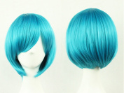 TLT 28cm (11inch) Upgrade VersionShort Straight Sexy Stylish Cosplay Party Hair Wigs (Blue) BU029