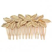 Sannysis Bling Punk Women Girls Golden Leaf Hair Comb Hair Clip