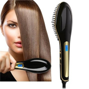 #1 Rated Professional Ceramic Hair Straightener Brush -Powerful Black Hair Straightener Brush For Straight, Silky, Smooth & Soft Detangled Hair Care - Anti-Scald & Anti-Static Technology For Safety