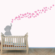 Elephant Decal, Animal Decal, Elephants with Bubbles, Pink Grey Elephant and Bubbles