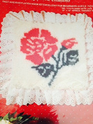 Designer Wallhangings Latch Hook Roses with Lace 30cm X 30cm
