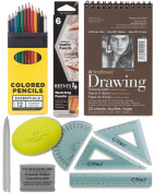 Artists Drawing Pack - Sketch Pad, Pencils Set, Kneaded Eraser, Coloured Pencils, Tortillon, Grip Eraser To Go Art Supplies Kit
