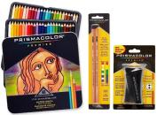 Prismacolor Premier Coloured Pencil and Accessory Set, Set of 48 Premier Coloured Pencils, One Premier Pencil Sharpener, and a 2-pack of Prismacolor Premier Colourless Blender Pencils