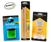 BUNDLE Prismacolor Blender Pencil Colourless, 2-pack + Prismacolor Scholar Coloured Pencil Sharpener + Prismacolor 3 Eraser Set