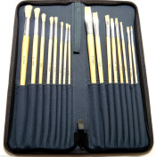 Artist Paint Brushes Set Hog Hair Oil Acrylic Watercolour Jakar Nylon Zipper Case